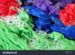 Colored Washing Machines Brightly Colored Laundry Sudsy Water Washing Stock Photo 50876500