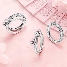 Pandora Wedding Rings by Pandora Cherry Blossom With Pink Enamel Ring Pancharmbracelets Com