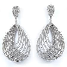 cubic zirconia earrings fancy teardrop cubic zirconia earrings made in sterling silver