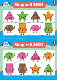 practice basic shapes and colors with these shapes bingo cards set