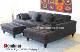 suede sectional sofas 3pc new modern dark grey microfiber sectional sofa chaise ottoman