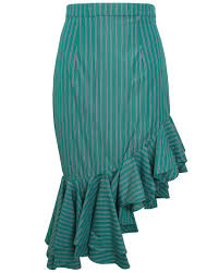 maggie marilyn i just want to be free green striped ruffle skirt