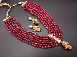 long red necklace images Designer bollywood inspired kundan red bead long necklace bridal jpg