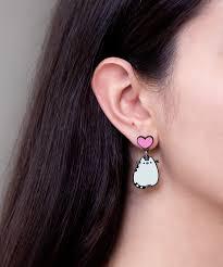 pusheen earrings earrings hey chickadee