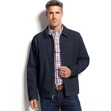 tommy hilfiger micro twill jacket in blue for men lyst