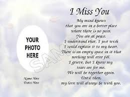i miss you photo personalized poem memory loved one gift ebay