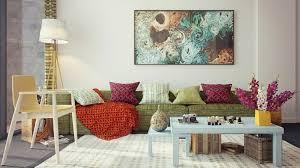 sofa bunt wohnzimmer dekorieren 50 ideen mit kissen bildern mehr