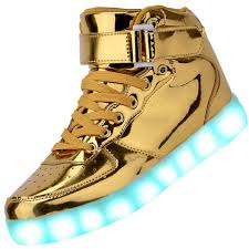 light up shoes gold high top men high top usb charging led light up shoes flashing sneakers gold