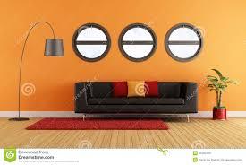 Wohnzimmerm El Couch Orange Couch Im Modernen Wohnzimmer Lizenzfreie Stockfotografie