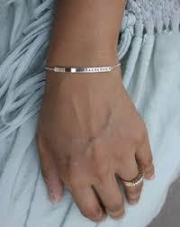 Gold Baby Name Bracelets Custom Name Bracelet Bar Bracelet Mothers Bracelet Silver Rose