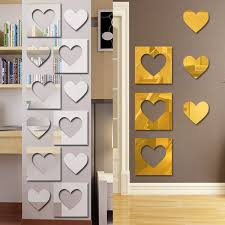 popular mirrors heart buy cheap mirrors heart lots from china 3d removable heart mirror wall stickers silver gold vinyl art murals mirror reflective decals home room