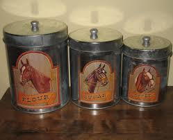 horse country kitchen metal canister set 3 tins western style