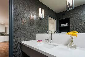 Modern Bathroom Looks Simply Beautiful Modern Bathroom Design With Decorative Black Wall