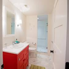 orange county bathroom vanity powder room asian with two toned