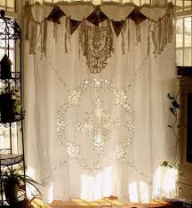 Ebay Curtains Antique Boho Shabby Rustic Chic Burlap Lace Shower Curtain Fringe