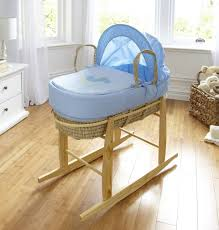little rocker moses basket in blue baby george at asda