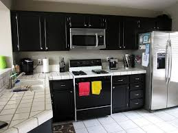 kitchen good black kitchen cabinet with white ceramic tile