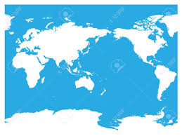 World Map Silhouette Australia And Pacific Ocean Centered World Map High Detail White