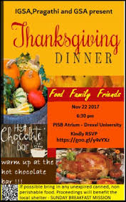 thanksgiving dinner 2017 papadakis integrated science building