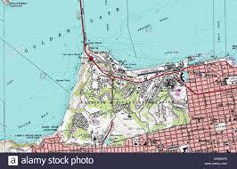 San Francisco Bike Map Topographic Map Of San Francisco Presidio California Stock Photo
