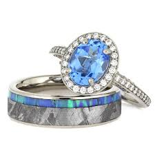 wedding band set gibeon meteorite wedding ring set topaz engagement ring with opal