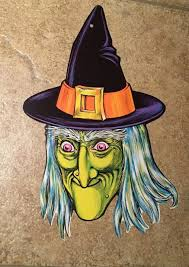 authentic vintage beistle die cut green witch pointy hat