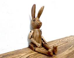 carved vintage style wooden hare puppet 45cm