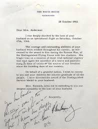 jfk letter to widow of major anderson