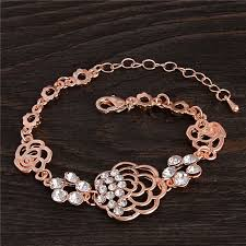 crystal chain link bracelet images Buy rose gold color white crystal sparking hollow chain link jpg