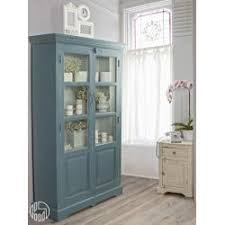 prunella shabby chic glass cabinet in wood with three shelves