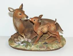 home interior deer picture vintage marks and rosenfeld deer with fawn figurine homco home
