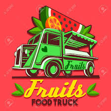 fruit delivery service food truck logotype for fruit stand shop fast delivery service