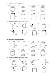 volume cylinder worksheet volume and surface area of cylinders discovery lesson by