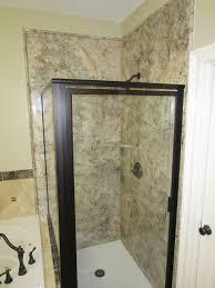 grand half bathroom designs with single glass shower door added