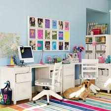 modern kids study room with white desk and chair also dog lay on