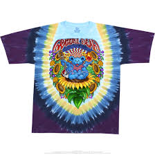 grateful dead guru bear tie dye t shirt tee liquid blue