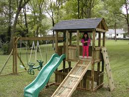 exterior traditional outdoor playsets with rustic playground and