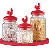 amazon com round clear glass airtight rooster canisters with