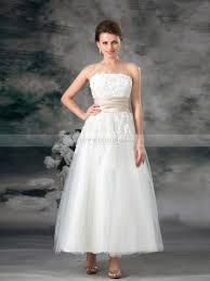 cheap wedding dresses 100 strapless tulle satin ankle length a line wedding dress with