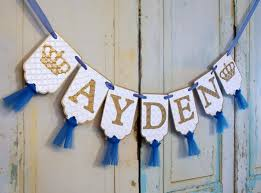 custom name banner with crowns white blue and gold banner with