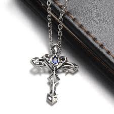 vintage cross necklace images Blue sweet couple necklaces punk sword cross pendant with blue jpg