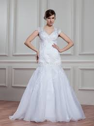 v neck lace and satin mermaid wedding dress with sheer design