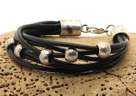 leather bracelet with silver beads images Charm bracelets jpg
