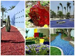 Colored Rocks For Garden Landscape Glass Landscaping Glass Mulch Mulch