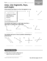 lines rays and line segments worksheets lines line segments rays and angles homework 15 1 4th 5th