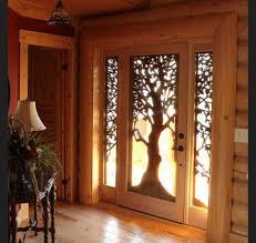 wooden door designs cabin wooden front door design with tree wooden decoration for the