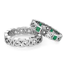 his and hers bridal his hers wedding band platinum princess cut emerald eternity ring