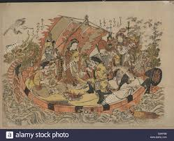 seven gods of good fortune in the treasure boat print shows the