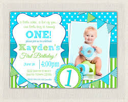 items similar to boys 1st birthday invitation blue and green