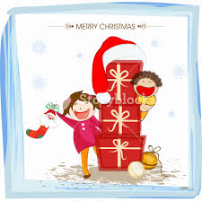cartoons of little boy and celebrating merry christmas with